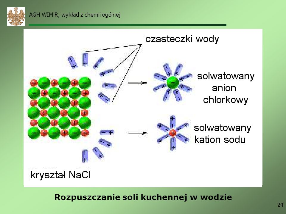 AGH WIMiR, wykład z chemii ogólnej 24 Rozpuszczanie soli kuchennej w wodzie
