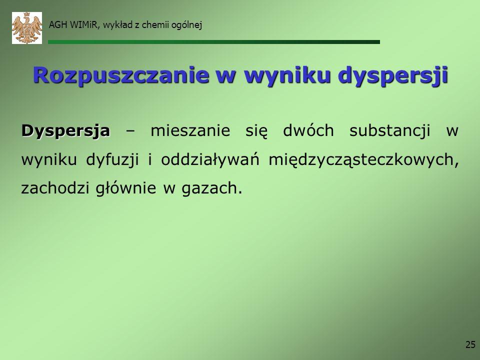 AGH WIMiR, wykład z chemii ogólnej 25 Rozpuszczanie w wyniku dyspersji Dyspersja Dyspersja – mieszanie się dwóch substancji w wyniku dyfuzji i oddział