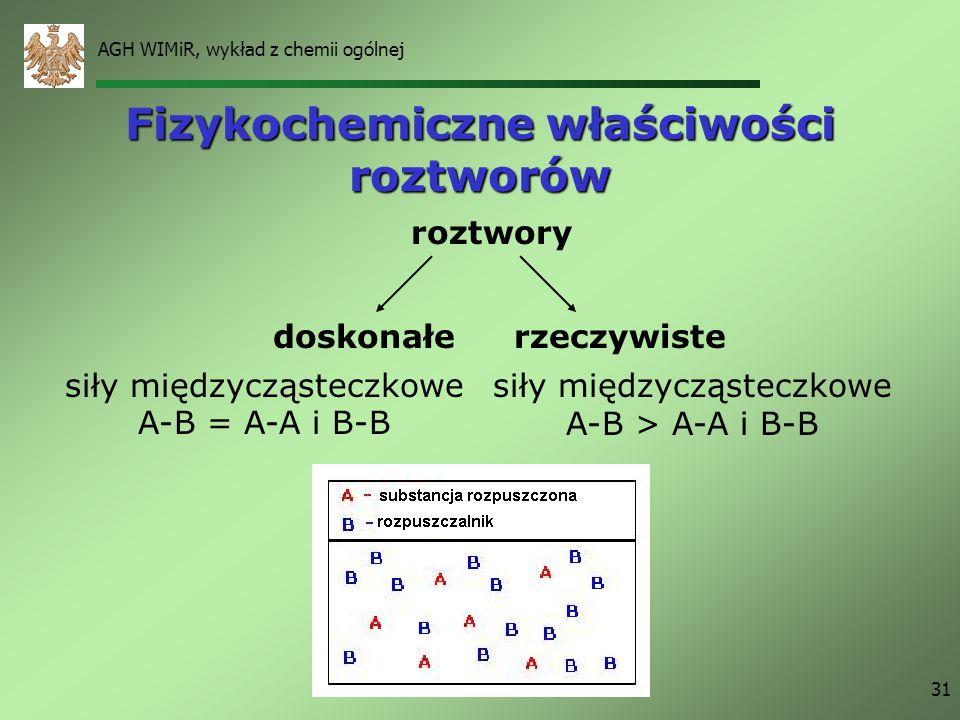 AGH WIMiR, wykład z chemii ogólnej 31 Fizykochemiczne właściwości roztworów roztwory doskonałerzeczywiste siły międzycząsteczkowe A-B = A-A i B-B siły