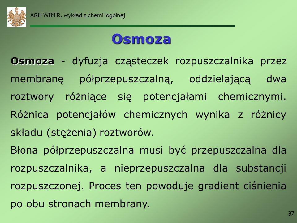 AGH WIMiR, wykład z chemii ogólnej 37 Osmoza Osmoza Osmoza - dyfuzja cząsteczek rozpuszczalnika przez membranę półprzepuszczalną, oddzielającą dwa roz