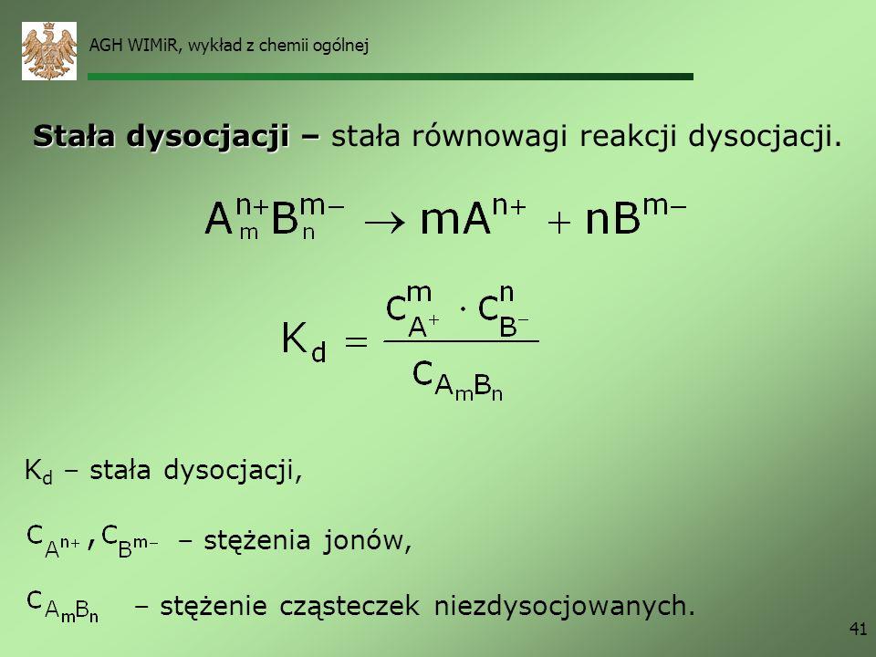 AGH WIMiR, wykład z chemii ogólnej 41 Stała dysocjacji – Stała dysocjacji – stała równowagi reakcji dysocjacji. – stężenia jonów, – stężenie cząstecze