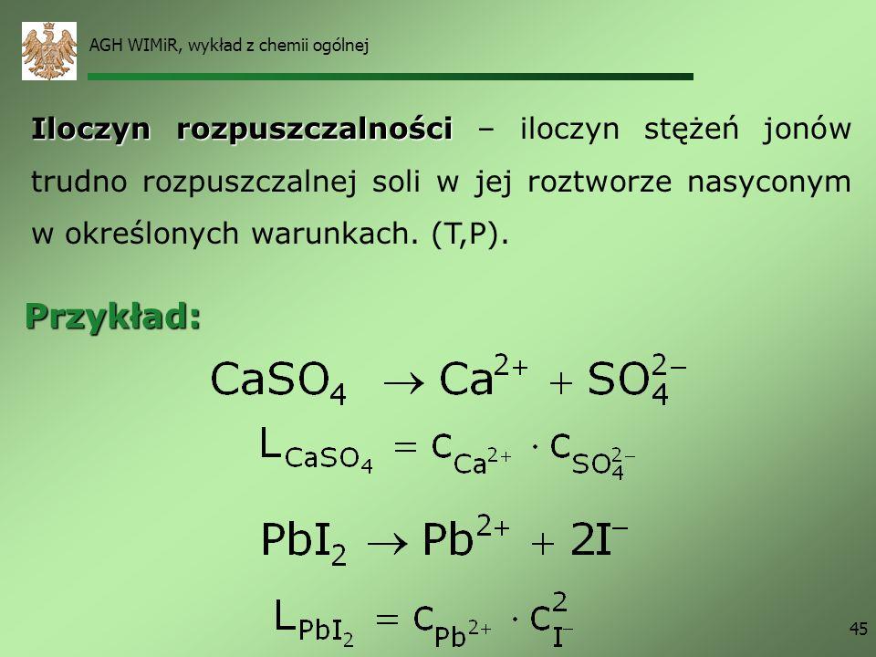 AGH WIMiR, wykład z chemii ogólnej 45 Iloczyn rozpuszczalności Iloczyn rozpuszczalności – iloczyn stężeń jonów trudno rozpuszczalnej soli w jej roztwo