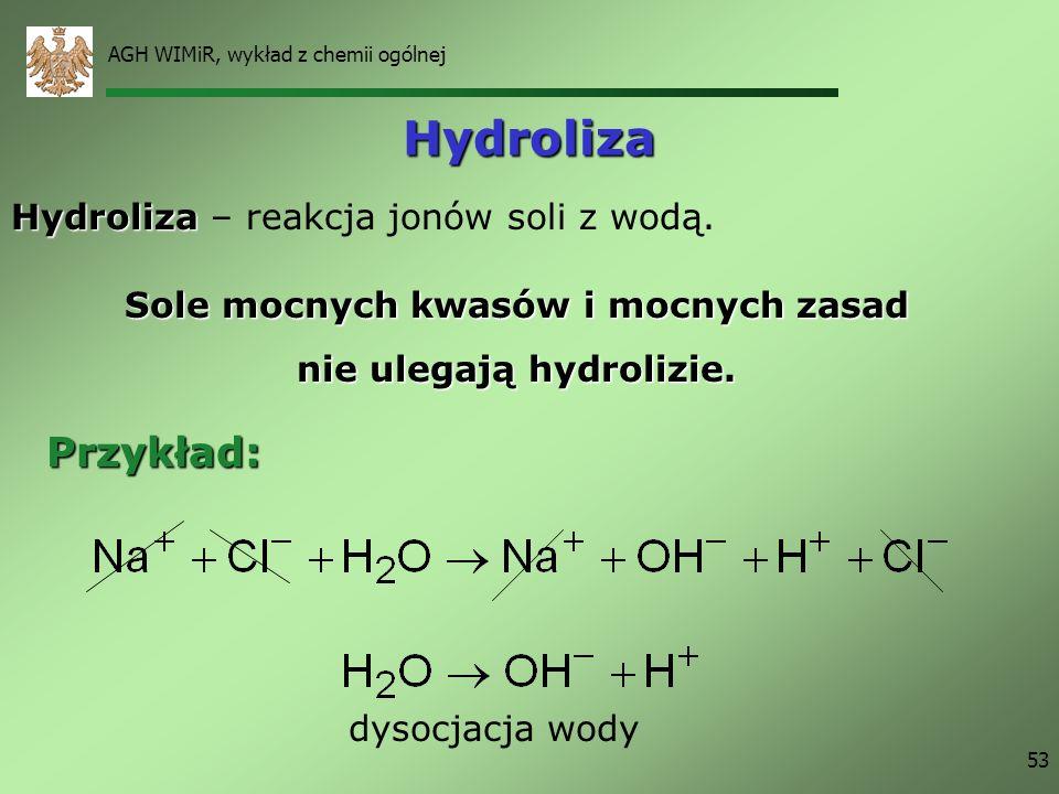 AGH WIMiR, wykład z chemii ogólnej 53 Hydroliza Hydroliza Hydroliza – reakcja jonów soli z wodą. Sole mocnych kwasów i mocnych zasad nie ulegają hydro