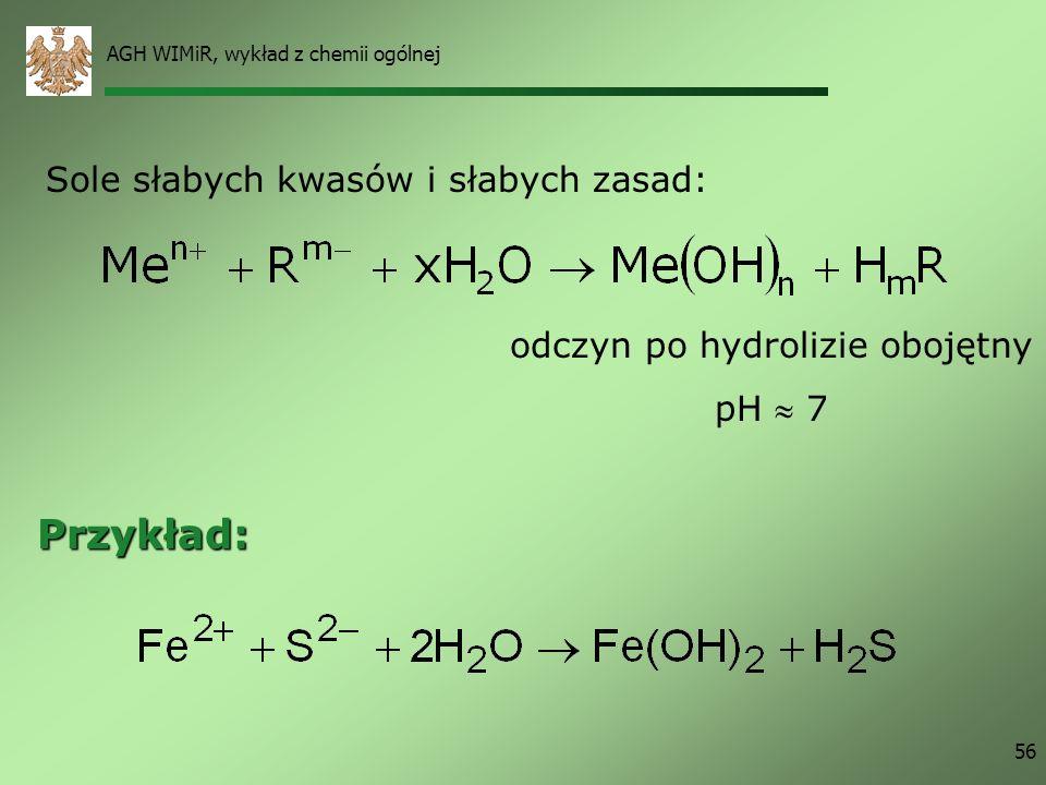 AGH WIMiR, wykład z chemii ogólnej 56 Sole słabych kwasów i słabych zasad: Przykład: odczyn po hydrolizie obojętny pH 7