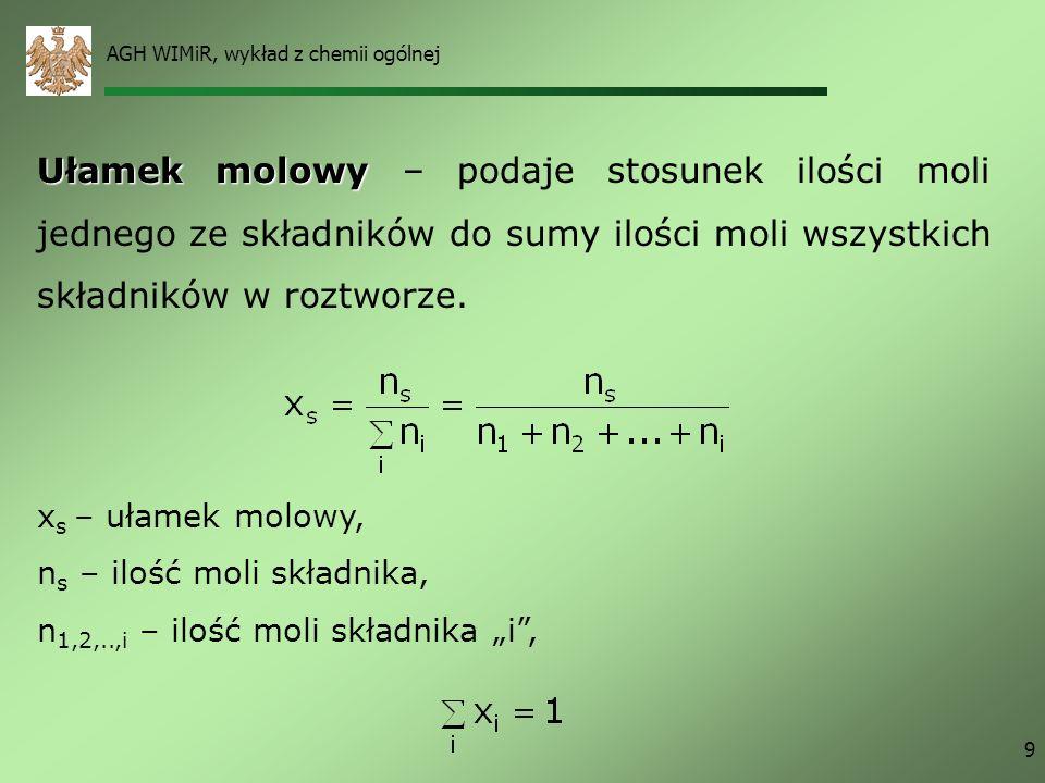 AGH WIMiR, wykład z chemii ogólnej 9 Ułamek molowy Ułamek molowy – podaje stosunek ilości moli jednego ze składników do sumy ilości moli wszystkich sk