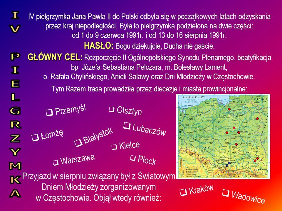 IV pielgrzymka Jana Pawła II do Polski odbyła się w początkowych latach odzyskania przez kraj niepodległości. Była to pielgrzymka podzielona na dwie c