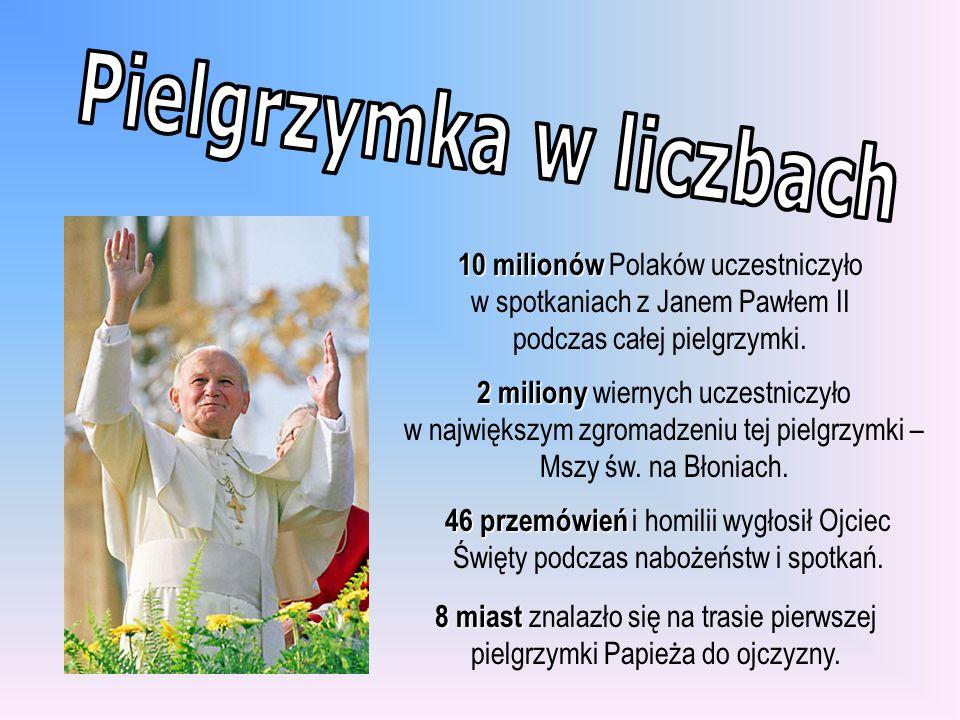 10 milionów 10 milionów Polaków uczestniczyło w spotkaniach z Janem Pawłem II podczas całej pielgrzymki. 2 miliony 2 miliony wiernych uczestniczyło w