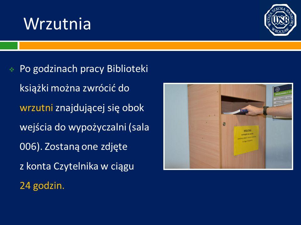 Wrzutnia Po godzinach pracy Biblioteki książki można zwrócić do wrzutni znajdującej się obok wejścia do wypożyczalni (sala 006). Zostaną one zdjęte z