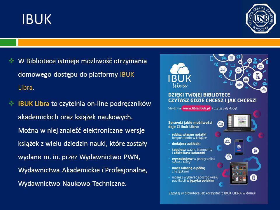 IBUK W Bibliotece istnieje możliwość otrzymania domowego dostępu do platformy IBUK Libra. IBUK Libra to czytelnia on-line podręczników akademickich or