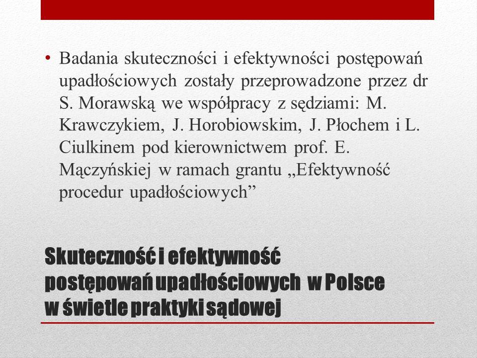 Skuteczność i efektywność postępowań upadłościowych w Polsce w świetle praktyki sądowej Badania skuteczności i efektywności postępowań upadłościowych