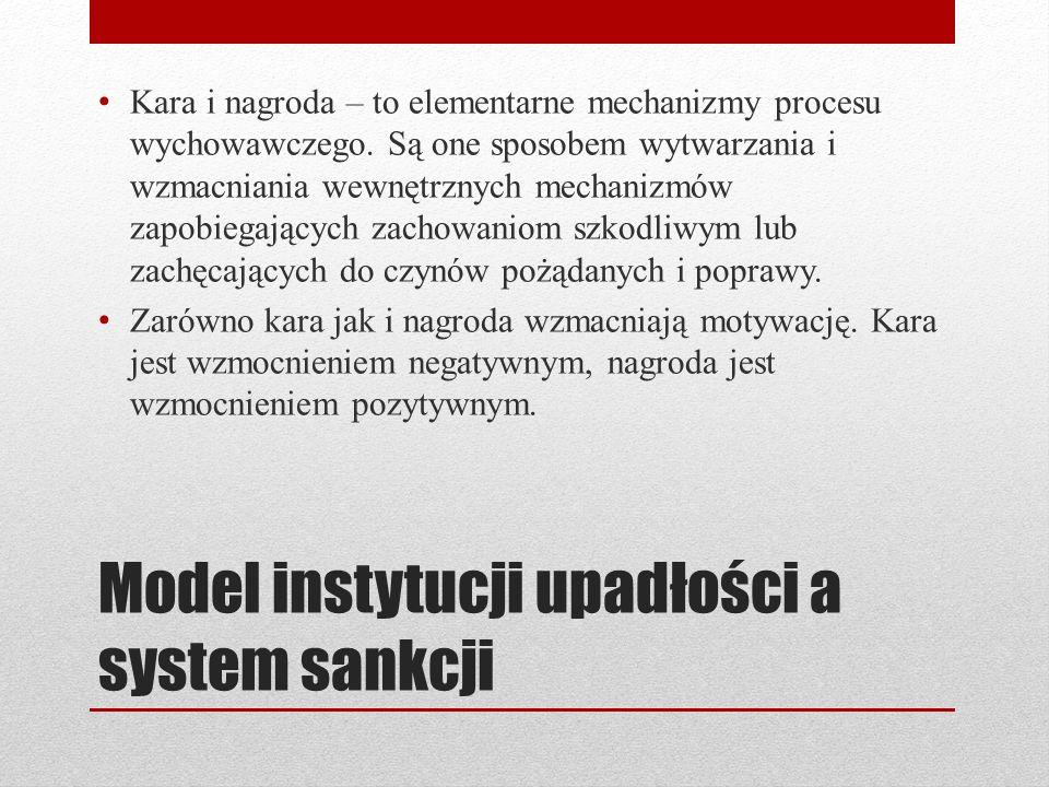 Model instytucji upadłości a system sankcji Kara i nagroda – to elementarne mechanizmy procesu wychowawczego. Są one sposobem wytwarzania i wzmacniani