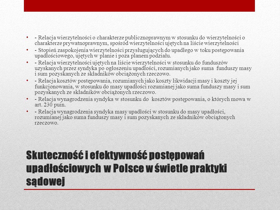 Skuteczność i efektywność postępowań upadłościowych w Polsce w świetle praktyki sądowej Badania przeprowadzone w ramach grantu wykazują, że funkcjonujący w Polsce model postępowania upadłościowego nie realizuje swojej podstawowej funkcji windykacyjnej.