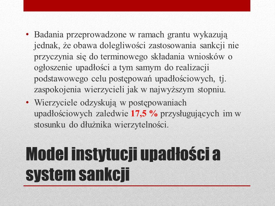 Model instytucji upadłości a system sankcji Badania przeprowadzone w ramach grantu wykazują jednak, że obawa dolegliwości zastosowania sankcji nie prz