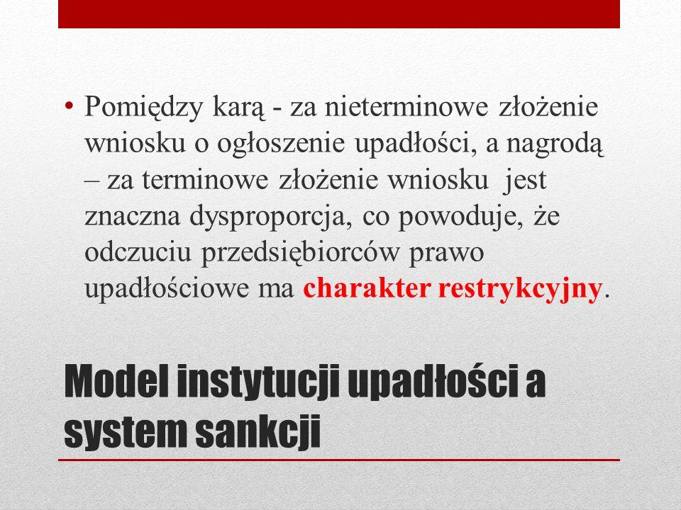 Model instytucji upadłości a system sankcji Pomiędzy karą - za nieterminowe złożenie wniosku o ogłoszenie upadłości, a nagrodą – za terminowe złożenie
