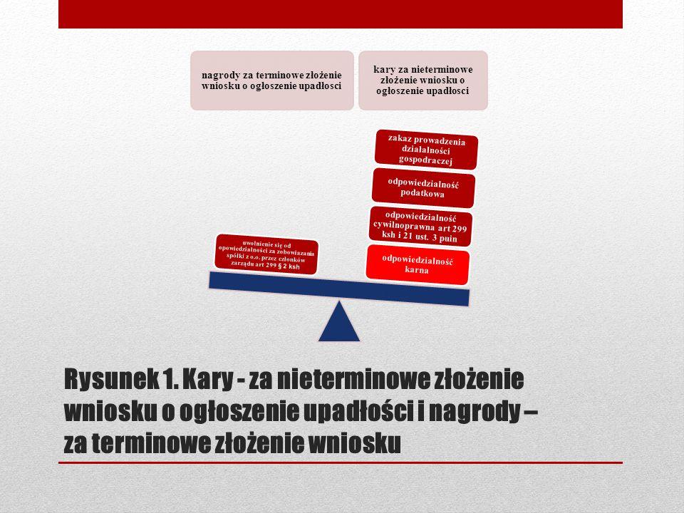 Rysunek 1. Kary - za nieterminowe złożenie wniosku o ogłoszenie upadłości i nagrody – za terminowe złożenie wniosku nagrody za terminowe złożenie wnio