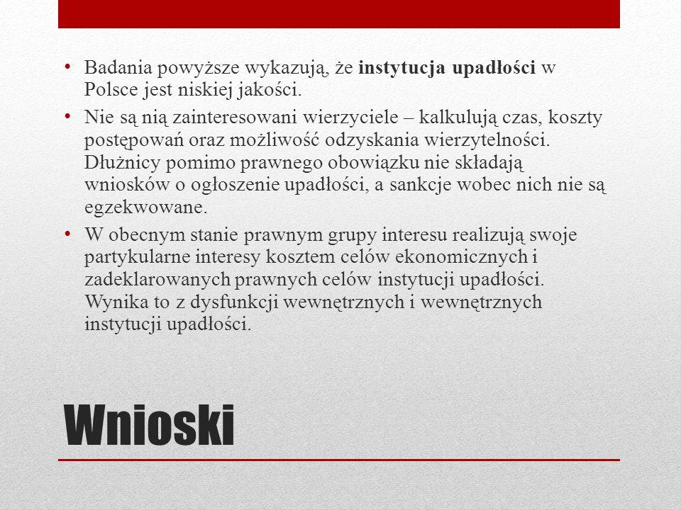 Wnioski Badania powyższe wykazują, że instytucja upadłości w Polsce jest niskiej jakości. Nie są nią zainteresowani wierzyciele – kalkulują czas, kosz