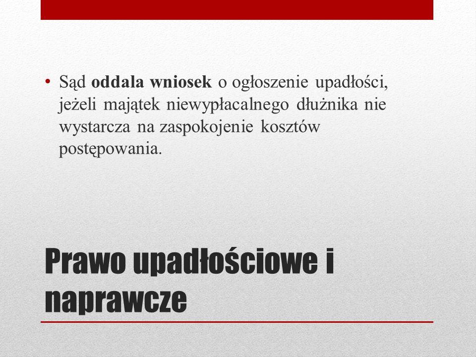 Instytucja upadłości Prawo upadłościowe sankcje