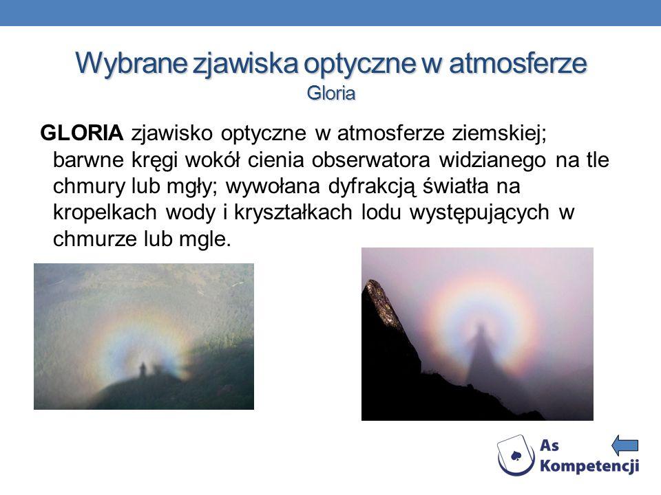 Wybrane zjawiska optyczne w atmosferze Gloria GLORIA zjawisko optyczne w atmosferze ziemskiej; barwne kręgi wokół cienia obserwatora widzianego na tle