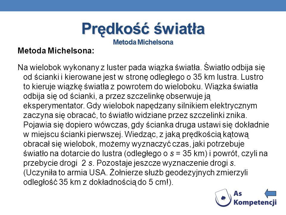 Prędkość światła Metoda Michelsona Metoda Michelsona: Na wielobok wykonany z luster pada wiązka światła. Światło odbija się od ścianki i kierowane jes