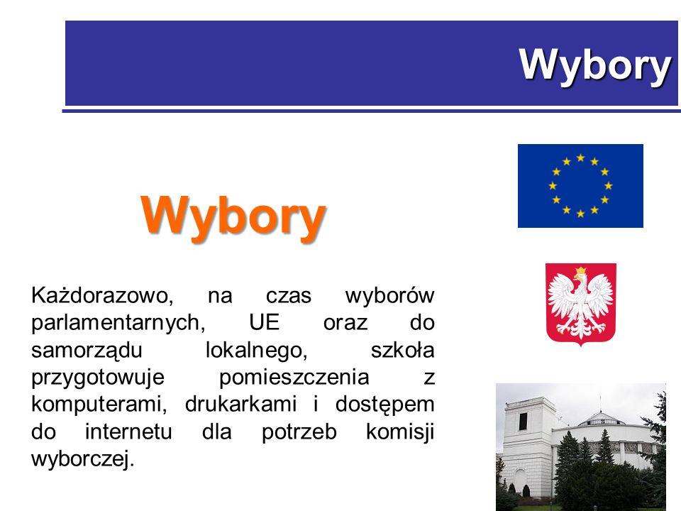 Wybory Wybory Każdorazowo, na czas wyborów parlamentarnych, UE oraz do samorządu lokalnego, szkoła przygotowuje pomieszczenia z komputerami, drukarkami i dostępem do internetu dla potrzeb komisji wyborczej.