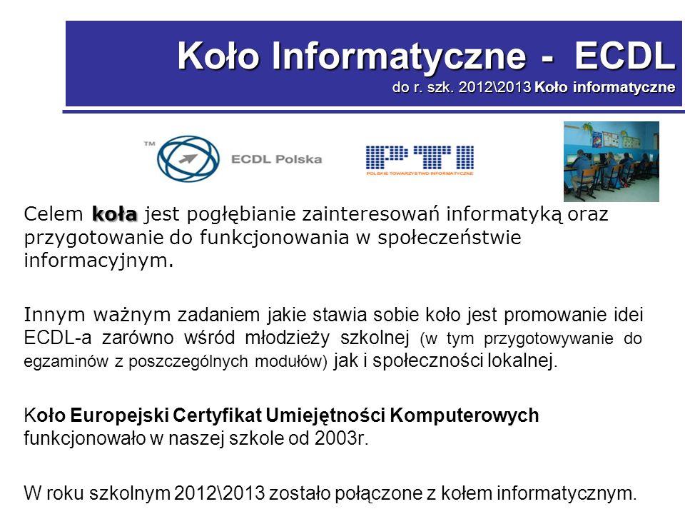 Koło Informatyczne - ECDL do r. szk.