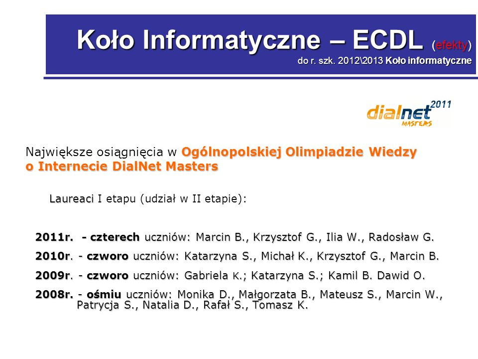 Koło Informatyczne – ECDL (efekty) do r. szk.