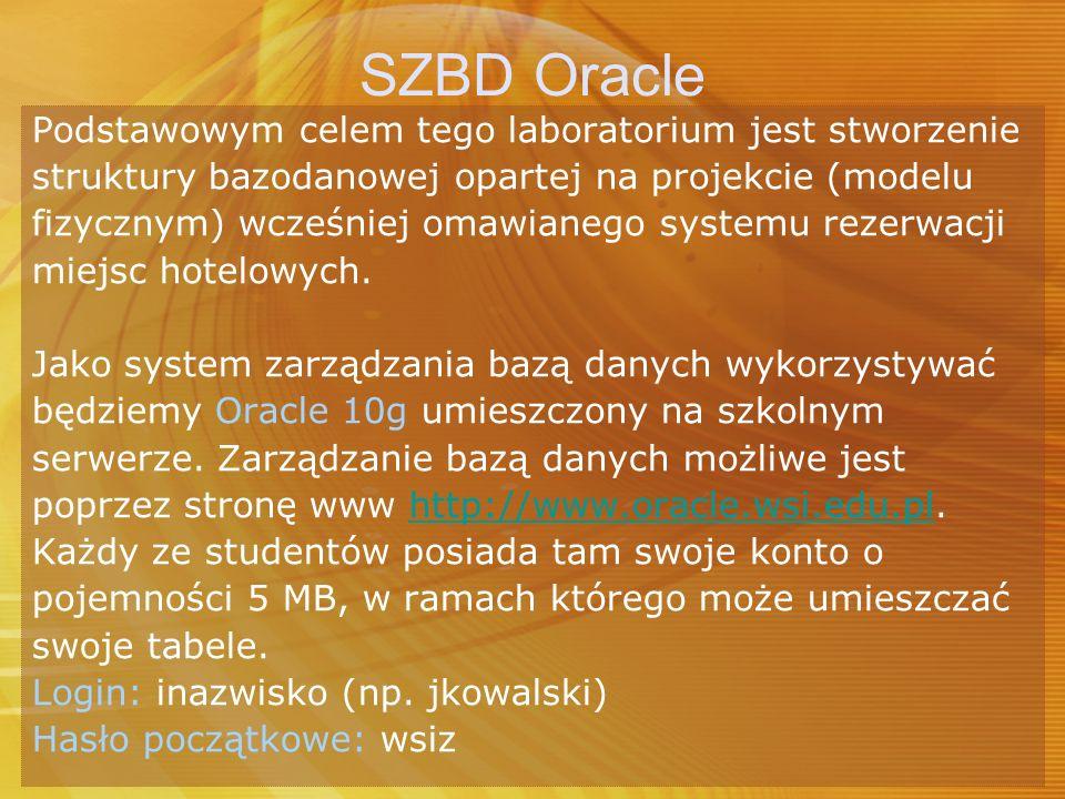 SZBD Oracle Podstawowym celem tego laboratorium jest stworzenie struktury bazodanowej opartej na projekcie (modelu fizycznym) wcześniej omawianego sys