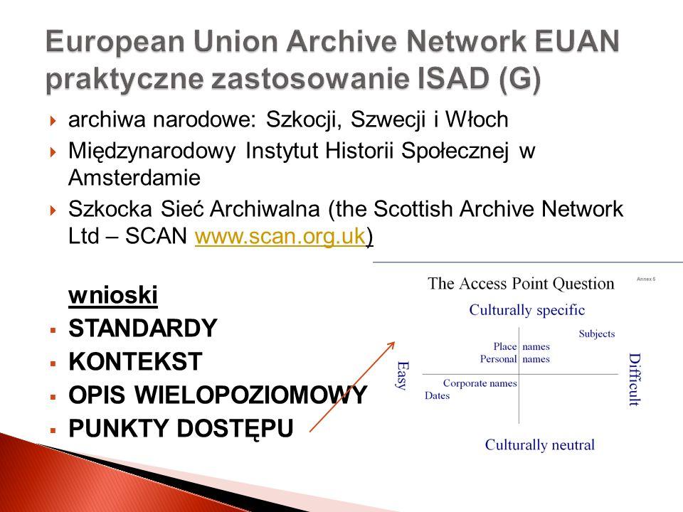 archiwa narodowe: Szkocji, Szwecji i Włoch Międzynarodowy Instytut Historii Społecznej w Amsterdamie Szkocka Sieć Archiwalna (the Scottish Archive Net