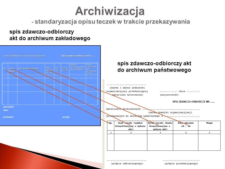 Archiwizacja - standaryzacja opisu teczek w trakcie przekazywania spis zdawczo-odbiorczy akt do archiwum państwowego spis zdawczo-odbiorczy akt do arc