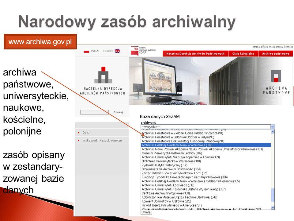 archiwa państwowe, uniwersyteckie, naukowe, kościelne, polonijne zasób opisany w zestandary- zowanej bazie danych Narodowy zasób archiwalny www.archiw