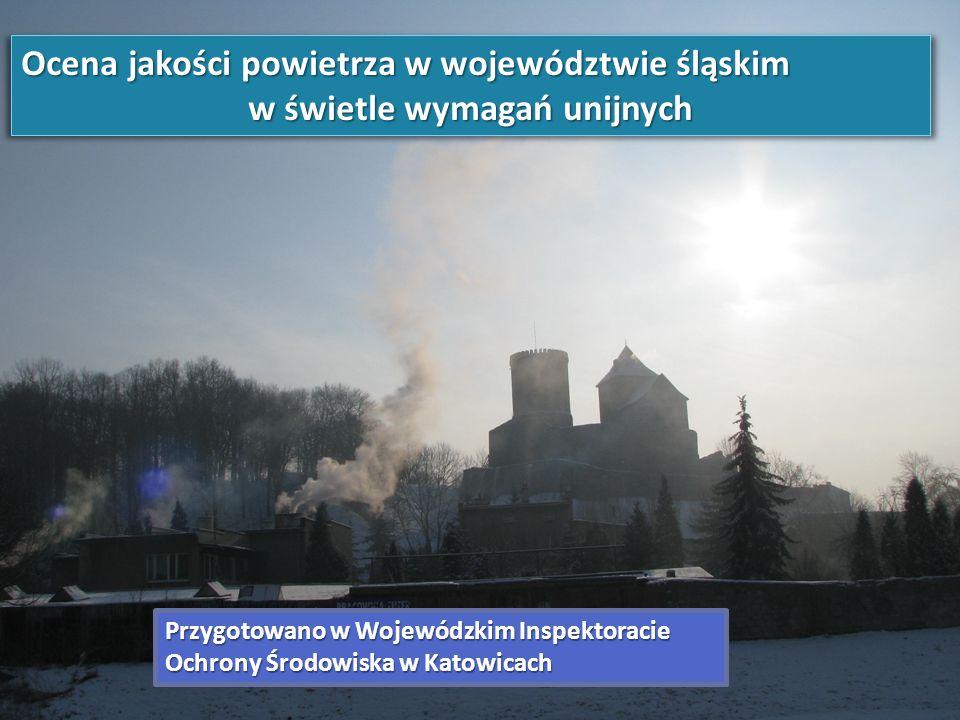 ZAKRES BADAŃ MONITORINGOWYCH POWIETRZA W 2012 ROKU Na terenie województwa śląskiego w 2012 roku znajdowało się 230 stanowisk pomiarowych umożliwiających określenie jakości powietrza w zakresie: pyłu zawieszonego PM10, pyłu zawieszonego PM2,5, dwutlenku siarki, dwutlenku azotu, tlenków azotu, ozonu, tlenku węgla, benzenu, zawartych w pyle PM10: ołowiu, kadmu, niklu, arsenu i benzo(a)pirenu, a także dodatkowo do oceny jakości powietrza w zakresie: 5 wybranych WWA, kationów, anionów oraz węgla organicznego i elementarnego zawartego w pyle PM2,5 (jedno z czterech województw w kraju wykonujących to badanie na stacjach tła regionalnego w Złotym Potoku i Godowie), rtęci w stanie gazowym na stacji w Złotym Potoku (jedna z czterech stacji mierzących zawartość rtęci w powietrzu w Polsce).