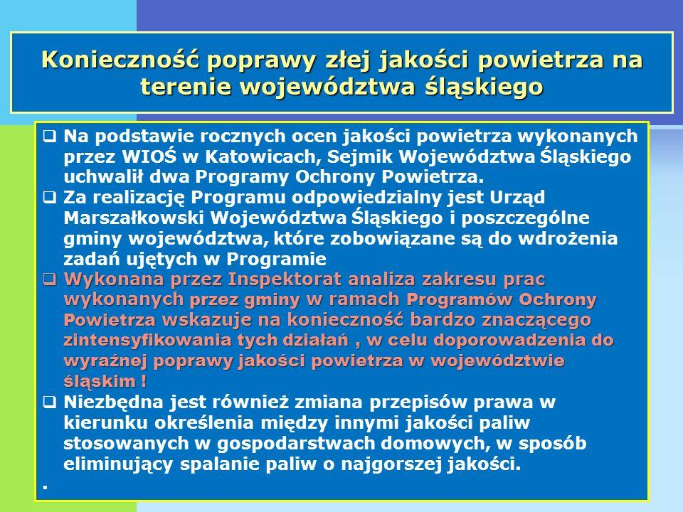 Konieczność poprawy złej jakości powietrza na terenie województwa śląskiego Na podstawie rocznych ocen jakości powietrza wykonanych przez WIOŚ w Katow