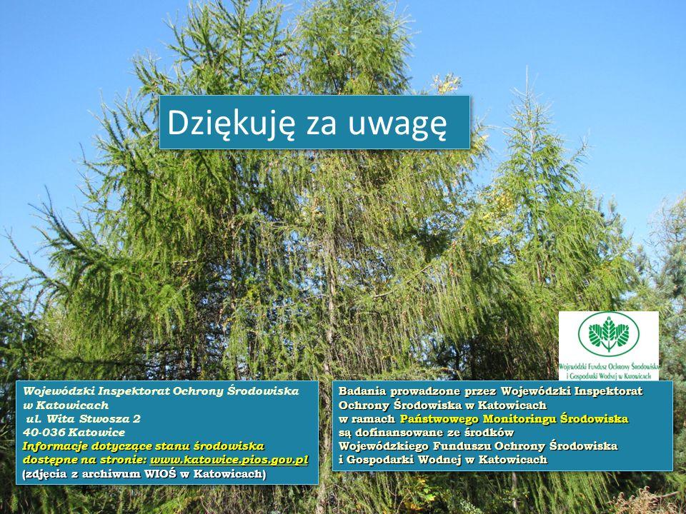 Wojewódzki Inspektorat Ochrony Środowiska w Katowicach ul. Wita Stwosza 2 40-036 Katowice Informacje dotyczące stanu środowiska dostępne na stronie: w