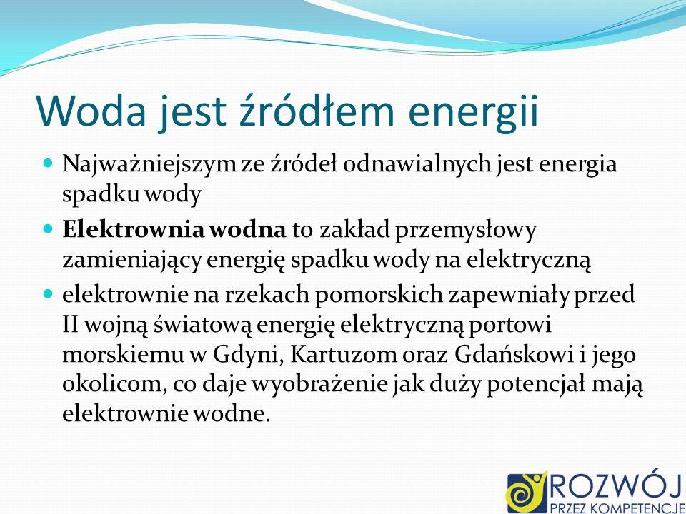 Woda jest źródłem energii Najważniejszym ze źródeł odnawialnych jest energia spadku wody Elektrownia wodna to zakład przemysłowy zamieniający energię spadku wody na elektryczną elektrownie na rzekach pomorskich zapewniały przed II wojną światową energię elektryczną portowi morskiemu w Gdyni, Kartuzom oraz Gdańskowi i jego okolicom, co daje wyobrażenie jak duży potencjał mają elektrownie wodne.