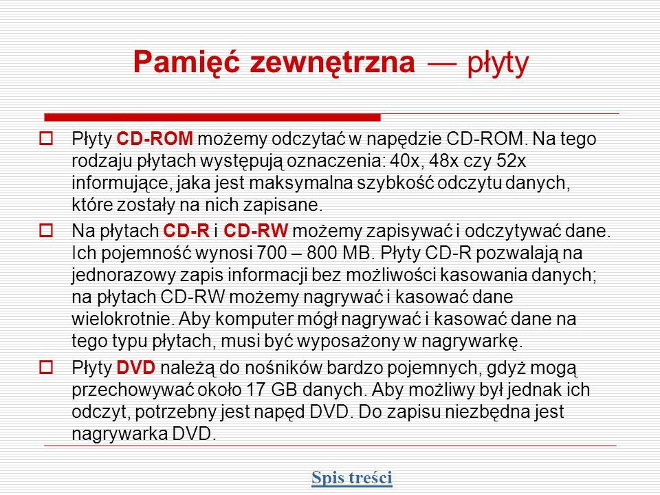 Pamięć zewnętrzna płyty Płyty CD-ROM możemy odczytać w napędzie CD-ROM. Na tego rodzaju płytach występują oznaczenia: 40x, 48x czy 52x informujące, ja