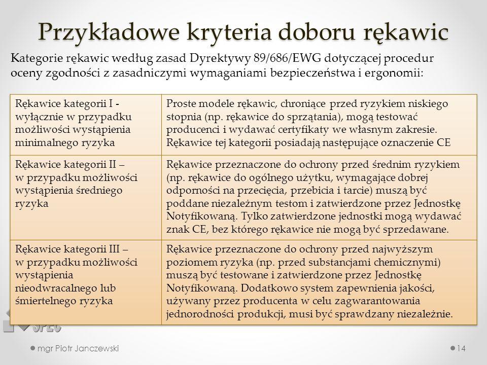 Przykładowe kryteria doboru rękawic mgr Piotr Janczewski14 Kategorie rękawic według zasad Dyrektywy 89/686/EWG dotyczącej procedur oceny zgodności z z
