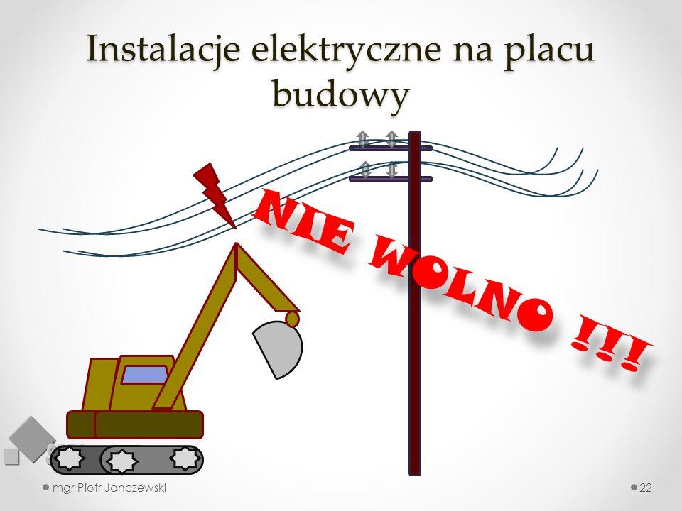 Instalacje elektryczne na placu budowy mgr Piotr Janczewski22 NIE WOLNO !!!