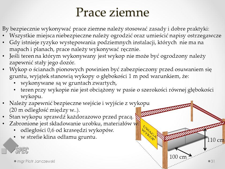 Prace ziemne mgr Piotr Janczewski31 110 cm 100 cm By bezpiecznie wykonywać prace ziemne należy stosować zasady i dobre praktyki: Wszystkie miejsca nie