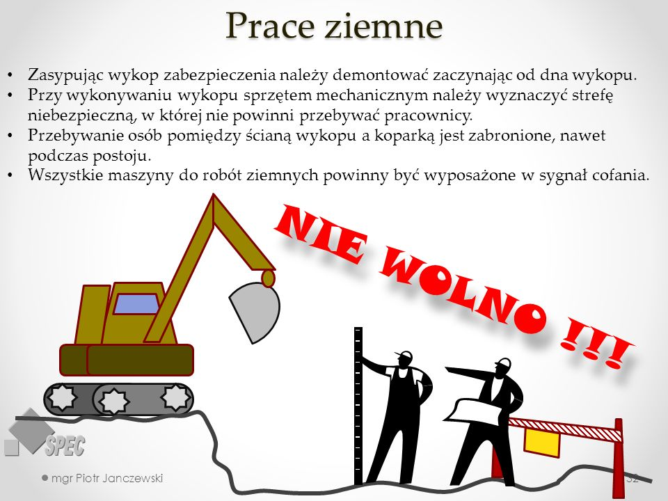 Prace ziemne mgr Piotr Janczewski32 Zasypując wykop zabezpieczenia należy demontować zaczynając od dna wykopu. Przy wykonywaniu wykopu sprzętem mechan