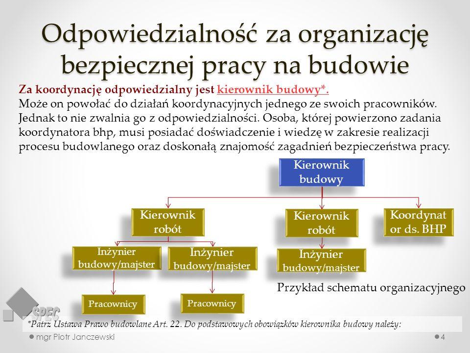 Odpowiedzialność za organizację bezpiecznej pracy na budowie mgr Piotr Janczewski4 *Patrz Ustawa Prawo budowlane Art. 22. Do podstawowych obowiązków k