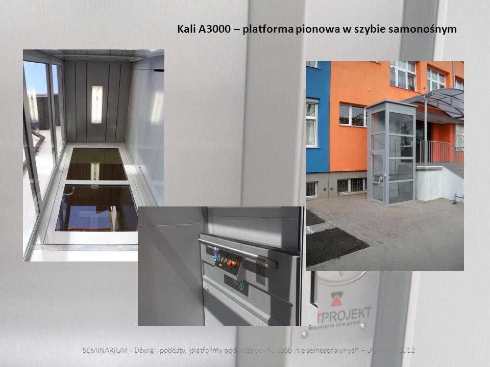 SEMINARIUM - Dźwigi, podesty, platformy podnoszące dla osób niepełnosprawnych – Białystok 2012 Kali A3000 – platforma pionowa w szybie samonośnym