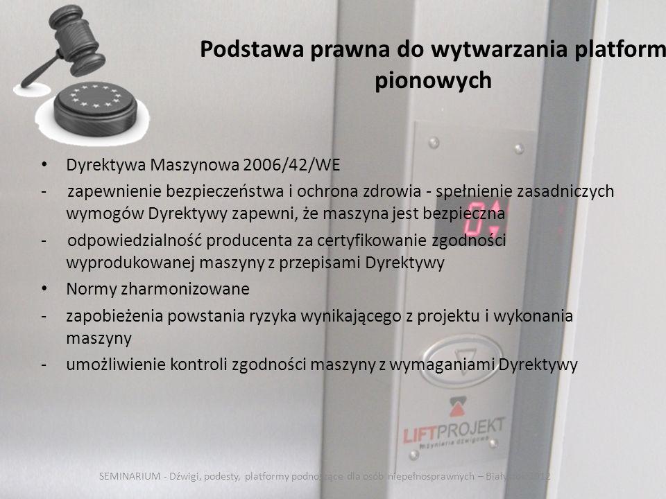 Podstawa prawna do wytwarzania platform pionowych Dyrektywa Maszynowa 2006/42/WE - zapewnienie bezpieczeństwa i ochrona zdrowia - spełnienie zasadniczych wymogów Dyrektywy zapewni, że maszyna jest bezpieczna - odpowiedzialność producenta za certyfikowanie zgodności wyprodukowanej maszyny z przepisami Dyrektywy Normy zharmonizowane -zapobieżenia powstania ryzyka wynikającego z projektu i wykonania maszyny -umożliwienie kontroli zgodności maszyny z wymaganiami Dyrektywy SEMINARIUM - Dźwigi, podesty, platformy podnoszące dla osób niepełnosprawnych – Białystok 2012
