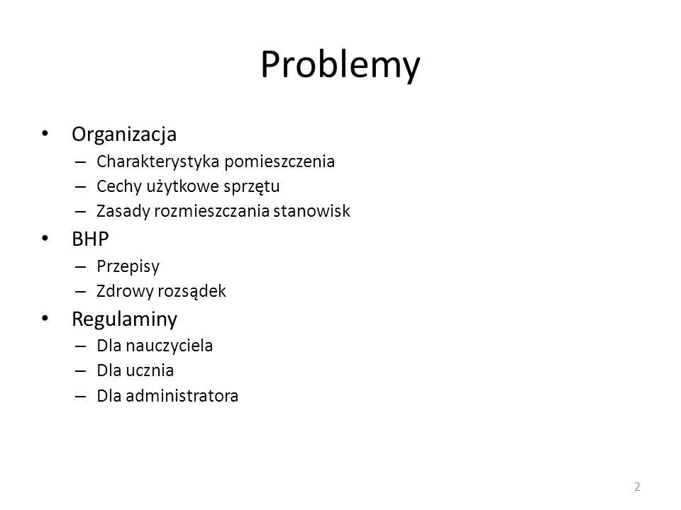 Problemy Organizacja – Charakterystyka pomieszczenia – Cechy użytkowe sprzętu – Zasady rozmieszczania stanowisk BHP – Przepisy – Zdrowy rozsądek Regul