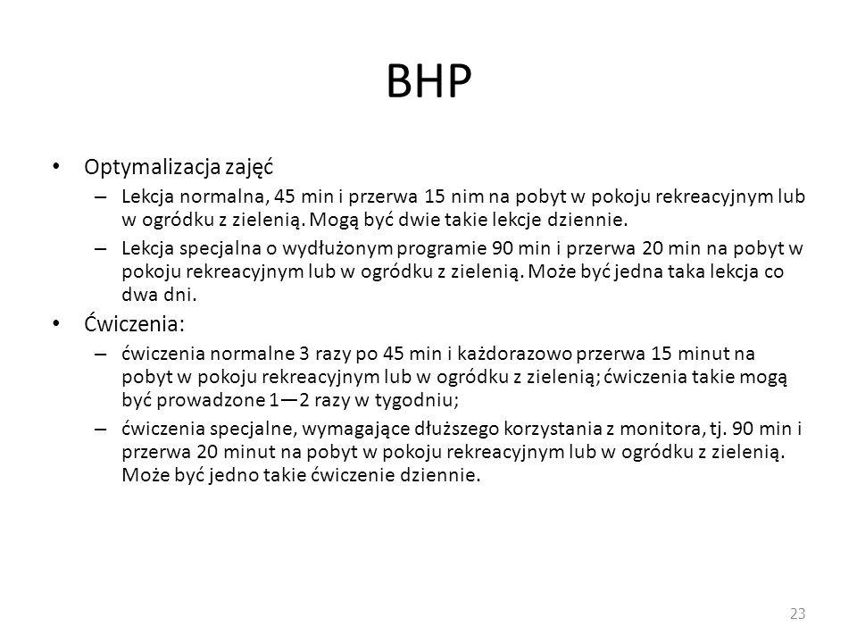 BHP Optymalizacja zajęć – Lekcja normalna, 45 min i przerwa 15 nim na pobyt w pokoju rekreacyjnym lub w ogródku z zielenią. Mogą być dwie takie lekcje