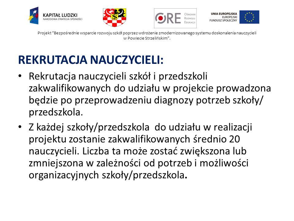 Projekt Bezpośrednie wsparcie rozwoju szkół poprzez wdrożenie zmodernizowanego systemu doskonalenia nauczycieli w Powiecie Strzelińskim. REKRUTACJA NA