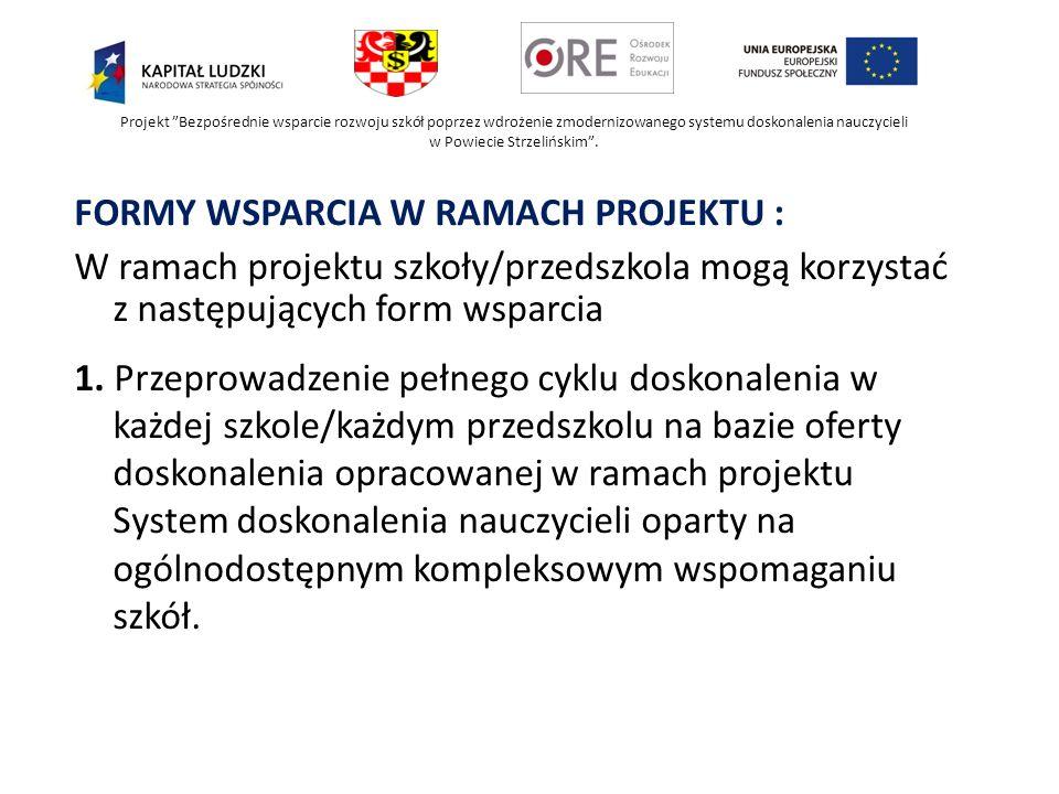 Projekt Bezpośrednie wsparcie rozwoju szkół poprzez wdrożenie zmodernizowanego systemu doskonalenia nauczycieli w Powiecie Strzelińskim. FORMY WSPARCI