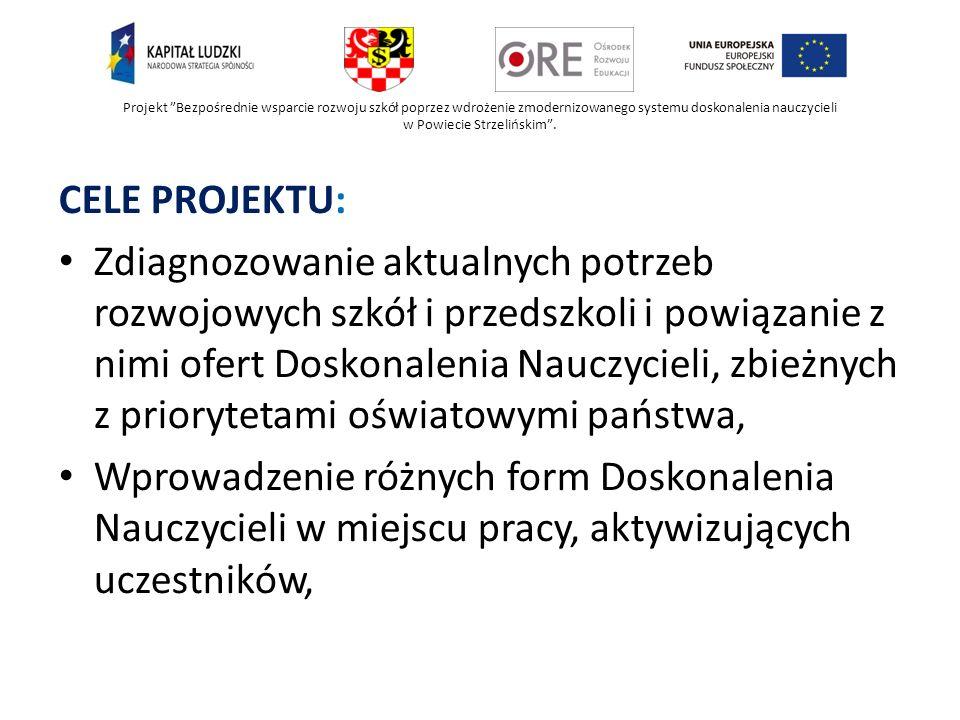 Projekt Bezpośrednie wsparcie rozwoju szkół poprzez wdrożenie zmodernizowanego systemu doskonalenia nauczycieli w Powiecie Strzelińskim. CELE PROJEKTU