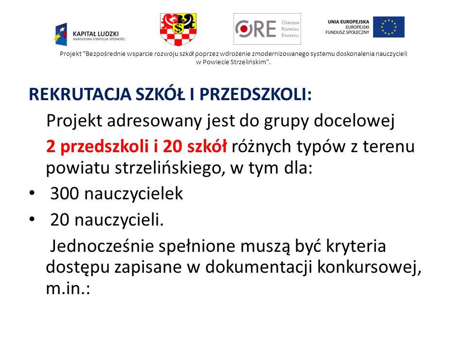 Projekt Bezpośrednie wsparcie rozwoju szkół poprzez wdrożenie zmodernizowanego systemu doskonalenia nauczycieli w Powiecie Strzelińskim. REKRUTACJA SZ