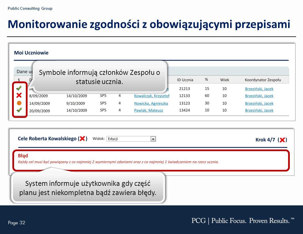 Page 32 Public Consulting Group Monitorowanie zgodności z obowiązującymi przepisami Symbole informują członków Zespołu o statusie ucznia. System infor