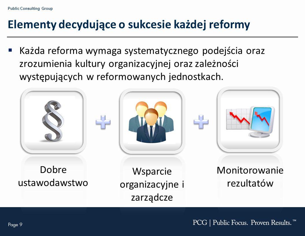 Page 9 Public Consulting Group Elementy decydujące o sukcesie każdej reformy Każda reforma wymaga systematycznego podejścia oraz zrozumienia kultury o